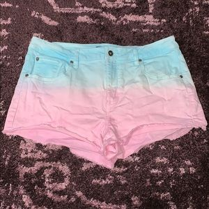 Pink/Blue Ombre High Waisted Jean Shorts